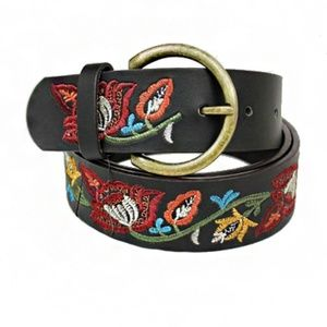Leather Boho Belt With Colorful Floral Embroidery